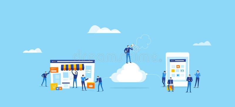 Il gruppo del progettista e dello sviluppatore crea il negozio online e si collega sulla nuvola royalty illustrazione gratis
