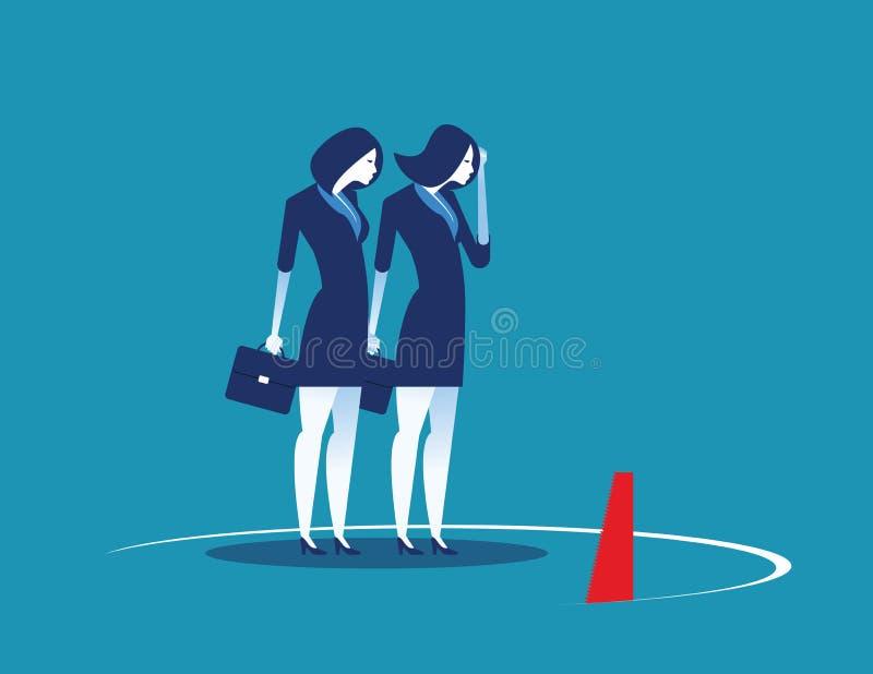 Il gruppo di affari e la trappola Illustrazione di vettore del carattere di affari di concetto Stile piano di progettazione illustrazione di stock