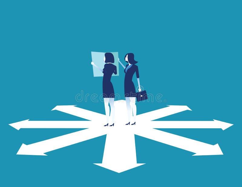 Il gruppo di affari sta discutendo sulla direzione a successo Illustrazione di vettore di affari di concetto illustrazione di stock