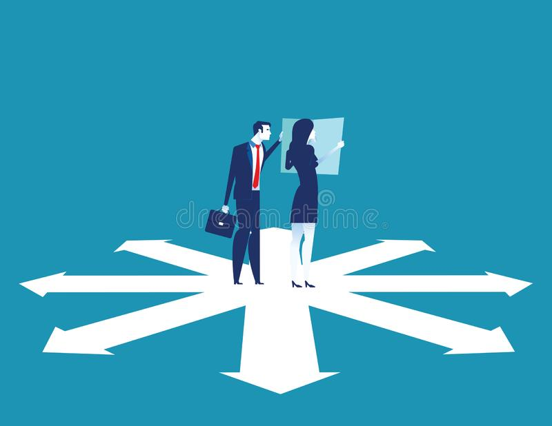Il gruppo di affari sta discutendo sulla direzione a successo Illustrazione di vettore di affari di concetto illustrazione vettoriale