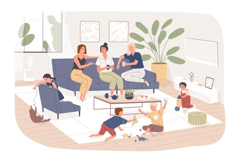 Il gruppo di amici femminili si siede sul sofà comodo, sul tè della bevanda e sullo schiamazzo mentre il loro gioco di bambini Gi illustrazione vettoriale