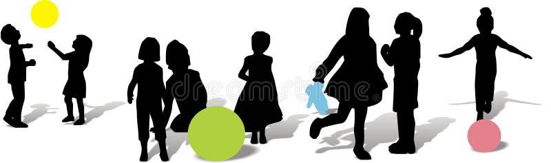 Il gruppo di bambini sta giocando illustrazione di stock