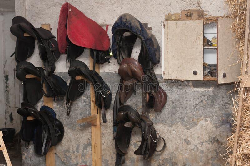 Il gruppo di cavallo sella hunging sulla parete in stalla fotografia stock libera da diritti