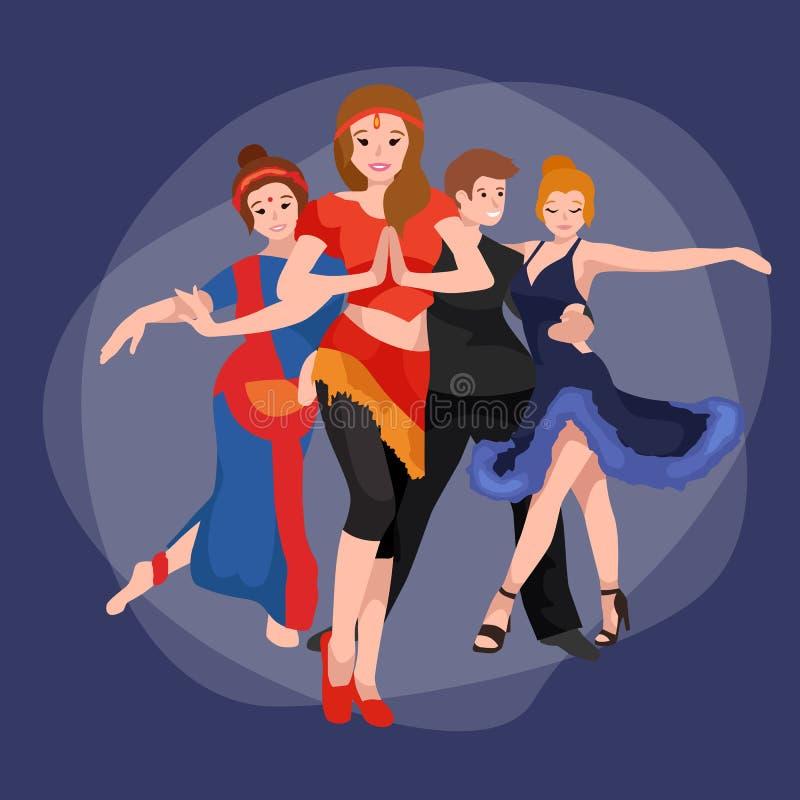 Il gruppo di gente di dancing, l'uomo di Yong e la donna felici ballano insieme ed in una coppia, ballerino di sport della ragazz illustrazione vettoriale