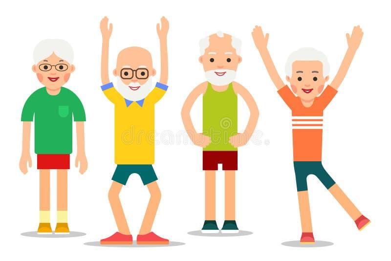 Il gruppo di gente più anziana si esercita relativi alla ginnastica Uomini anziani a royalty illustrazione gratis