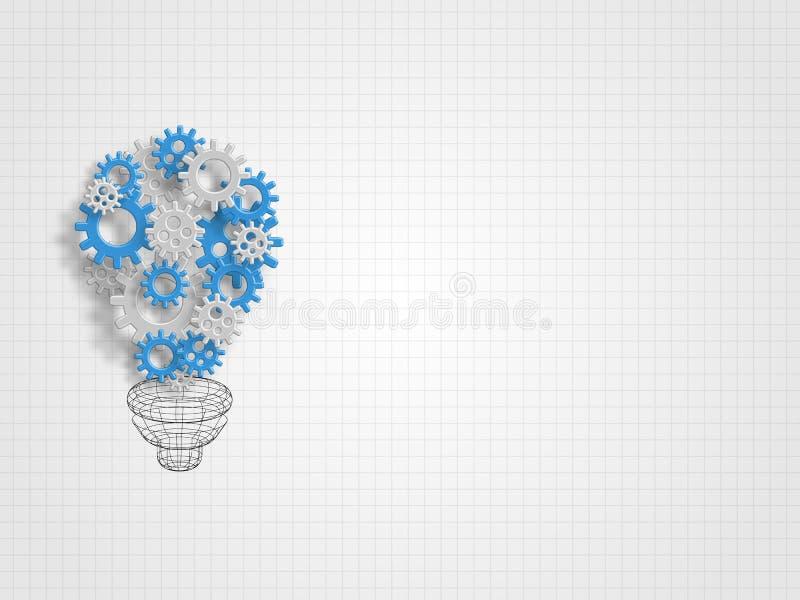Il gruppo di ingranaggi formati come la forma della lampadina rappresenta la nuovi idea e concetto dell'innovazione Priorità bass illustrazione vettoriale