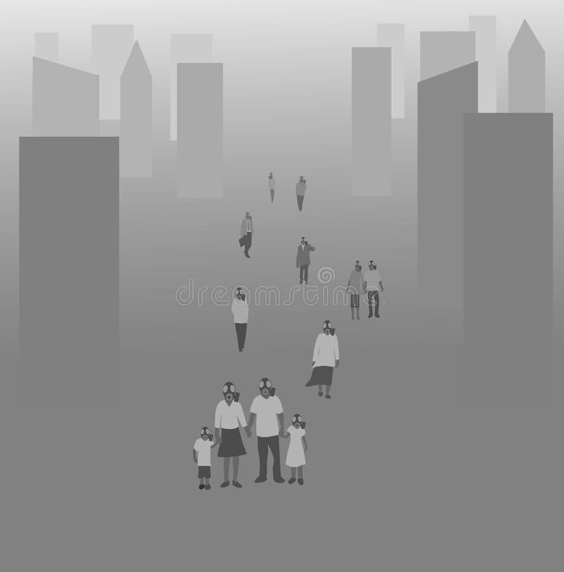Il gruppo di persone le maschere antigas d'uso sta camminando sulle vie della città Con inquinamento illustrazione vettoriale