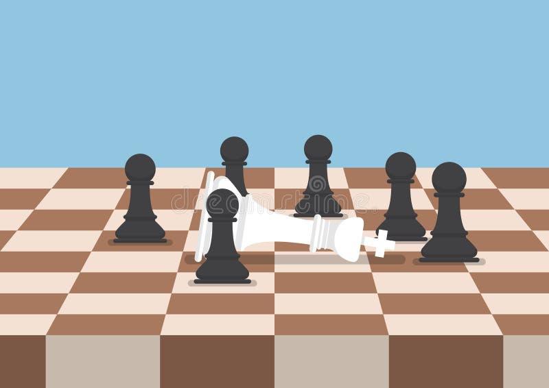 Il gruppo di scacchi neri impegna la sconfitta il re bianco illustrazione di stock