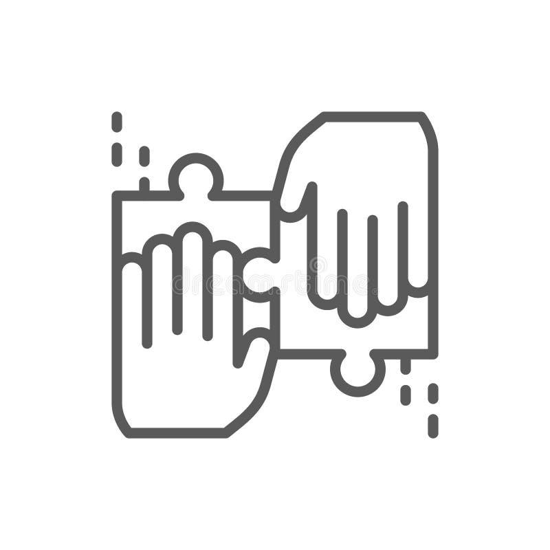 Il gruppo risolve una linea icona del puzzle royalty illustrazione gratis