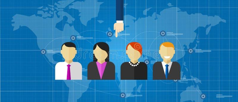 Il gruppo speciale selezionato ad-hoc della gente raggruppa il mondo di assunzione di selezione degli impiegati online royalty illustrazione gratis