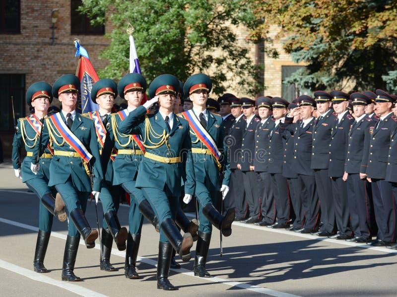 Il gruppo standard della guardia di onore, truppe interne del MIA della Russia fotografie stock libere da diritti