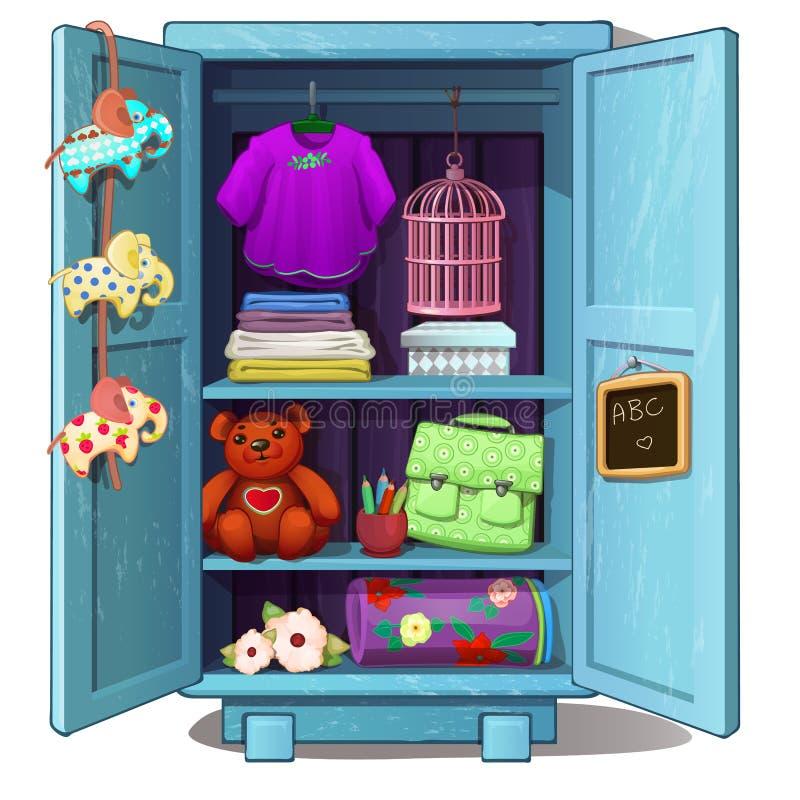 Il guardaroba dei bambini blu con i vestiti femminili, i giocattoli ed altro farciscono royalty illustrazione gratis