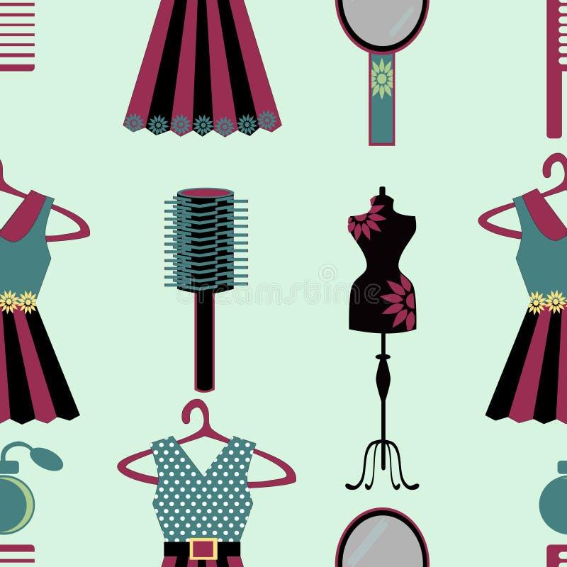 Il guardaroba della ragazza farcisce senza cuciture royalty illustrazione gratis