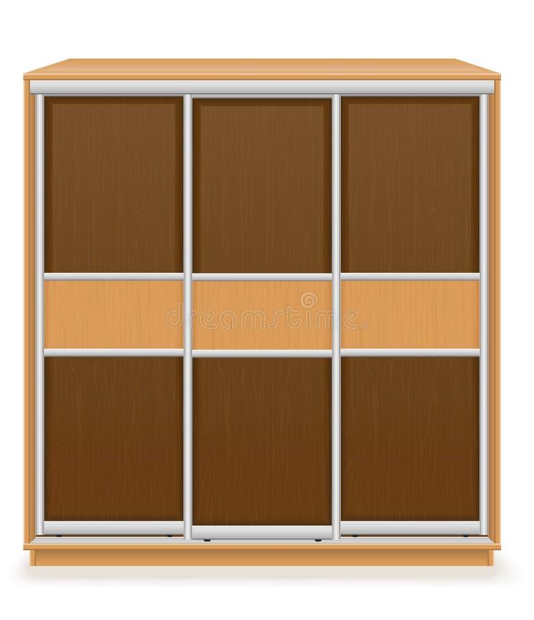 Il guardaroba di legno moderno della mobilia con i portelli scorrevoli vector il illus illustrazione vettoriale