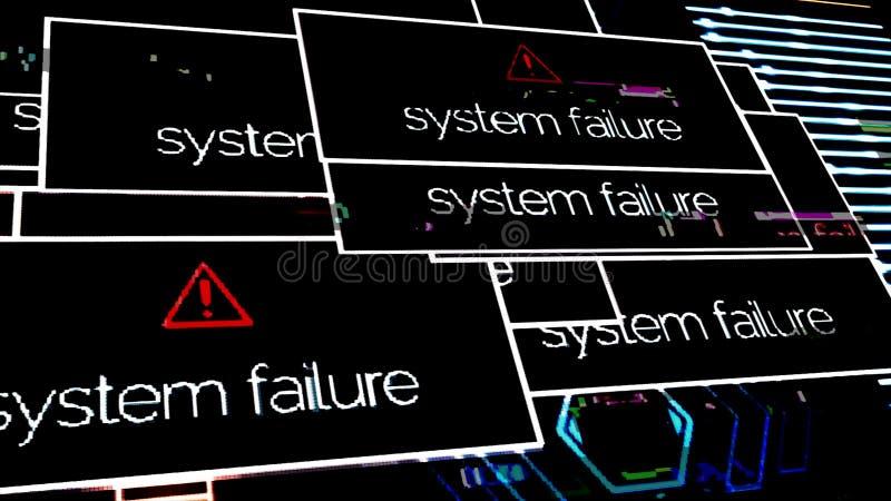 Il guasto del sistema delle iscrizioni compare sullo schermo di computer a causa dell'errore di programma animazione Segnale vide fotografia stock