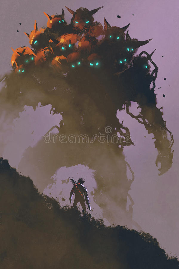 Il guerriero che affronta il mostro gigante della multi-testa royalty illustrazione gratis