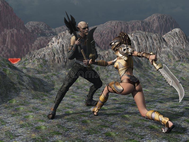 Il guerriero femminile di fantasia affronta il folletto nelle montagne illustrazione di stock