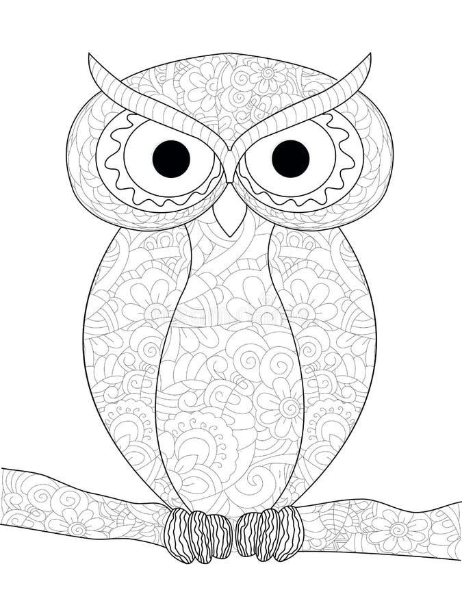 Il gufo è un uccello Anti coloritura di sforzo, vettore per gli adulti illustrazione vettoriale