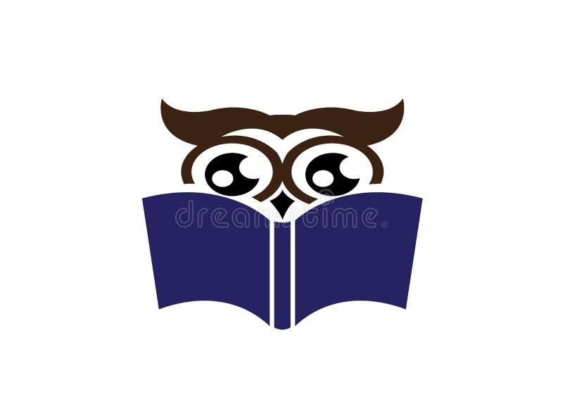 Il gufo ha letto il libro per l'illustratore di progettazione di logo, icona saggia, simbolo di istruzione illustrazione di stock