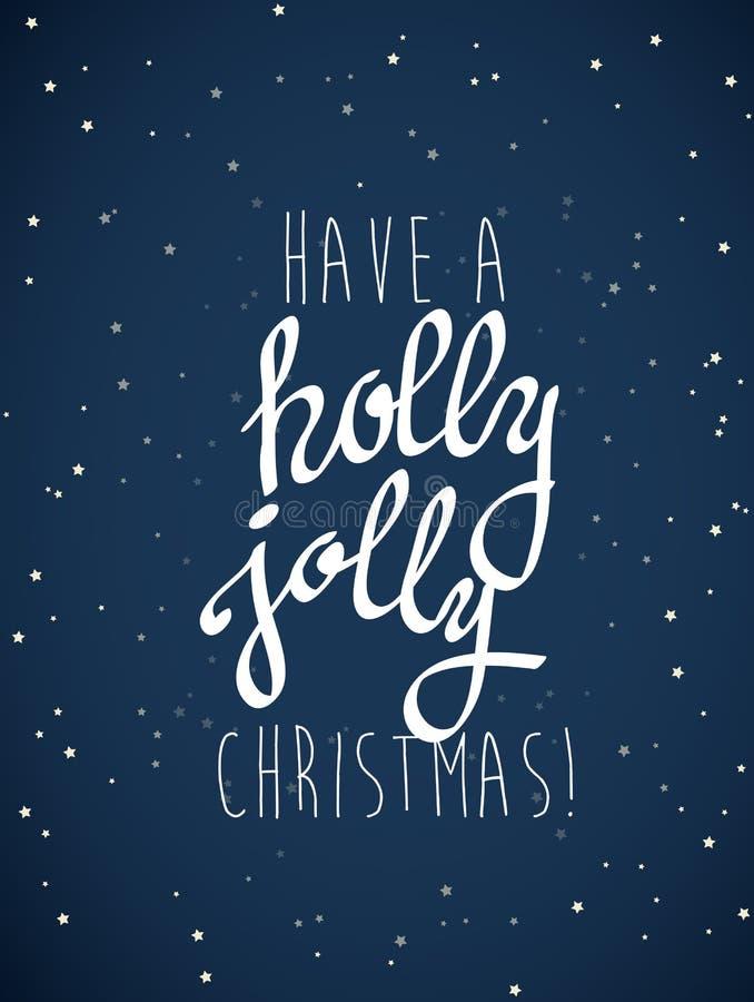 Il ` ha un ` allegro di Natale dell'agrifoglio con i lotti delle stelle illustrazione vettoriale