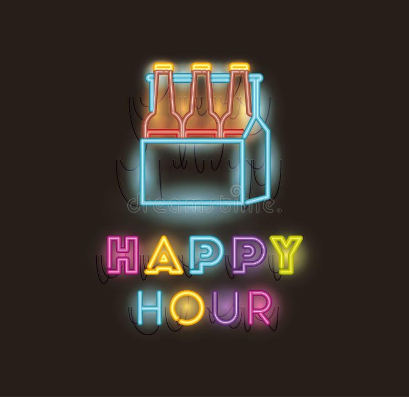 Il happy hour con le birre imbottiglia le luci al neon delle fonti del canestro royalty illustrazione gratis