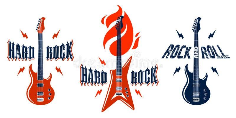 Il hard rock simbolizza con il logos insieme di vettore della chitarra elettrica, il festival di concerto o le etichette del nigh royalty illustrazione gratis