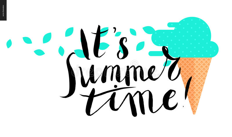 Il heure d'été de s, lettrage et crème glacée de menthe illustration de vecteur