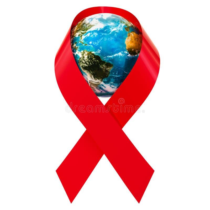 IL HIV AIUTA il nastro rosso di consapevolezza con il globo della terra, rappresentazione 3D illustrazione di stock
