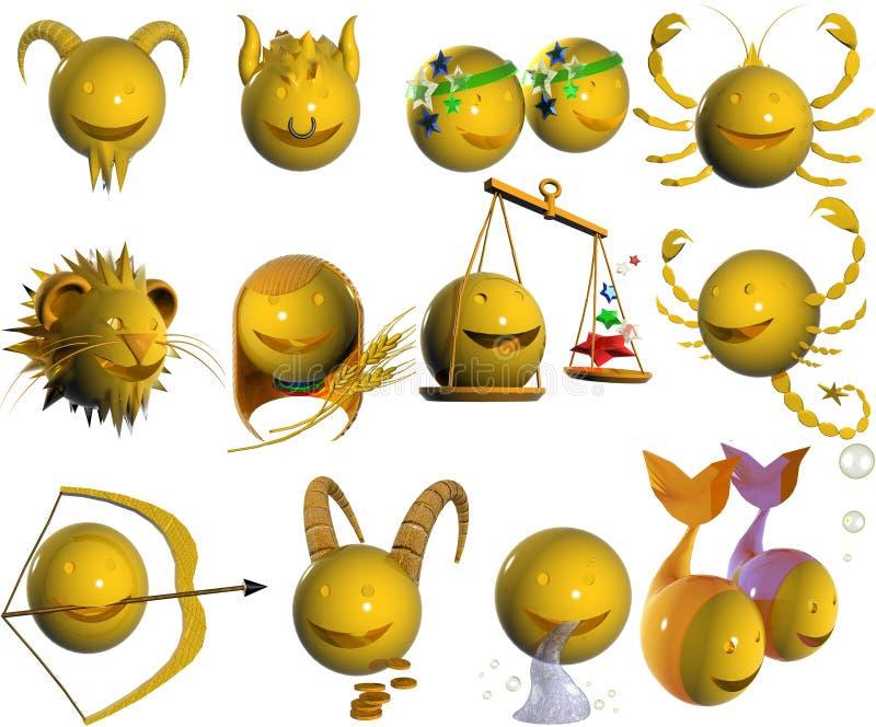 Il Horoscope ha fatto fuori dai segni del Emoticon 3d illustrazione di stock