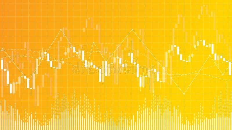 Il illustrationon commerciale di vettore del grafico del candeliere dei forex ingiallisce il fondo illustrazione di stock