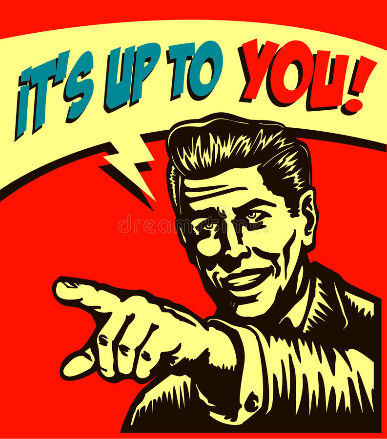 Il incombe à vous ! Rétro homme d'affaires avec indiquer l'appel de doigt l'illustration d'action illustration stock