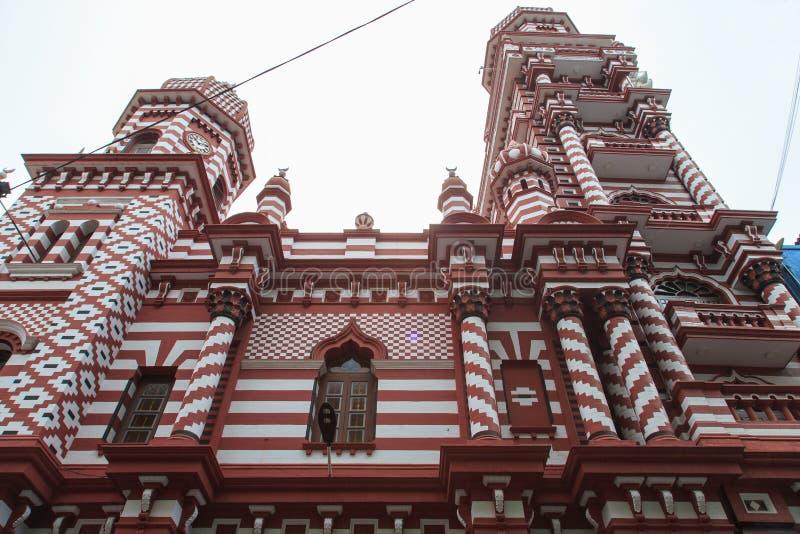 Il Jamiul Alfar Masjid o conosciuto comunemente come la moschea rossa a Pettah - Colombo fotografia stock