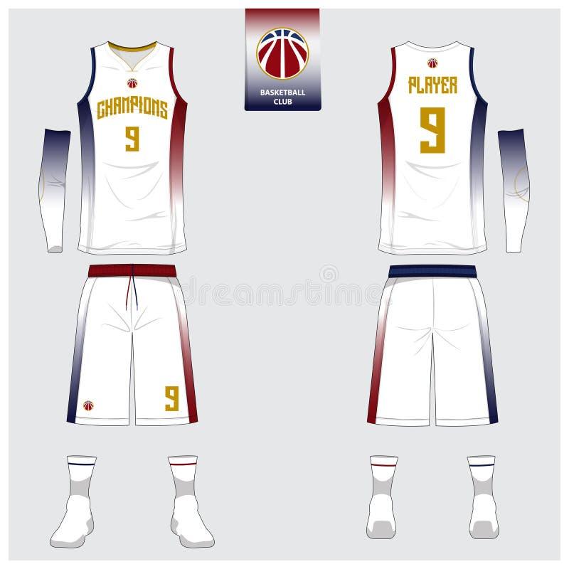 Il jersey di pallacanestro, shorts, colpisce con forza il modello per il club di pallacanestro Uniforme anteriore e posteriore di illustrazione di stock