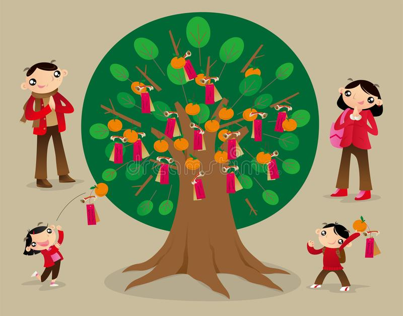 Il joss di lancio incarta sull'albero di desiderio e fa i desideri royalty illustrazione gratis
