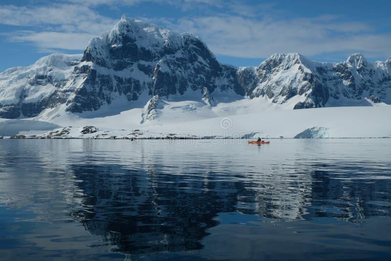 Il kajak arancio dell'Antartide in una baia blu dello specchio sotto neve ha ricoperto le montagne fotografia stock libera da diritti