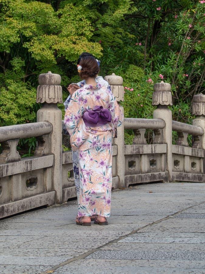 Il kimono ha vestito le ragazze a Kyoto, Japa immagini stock