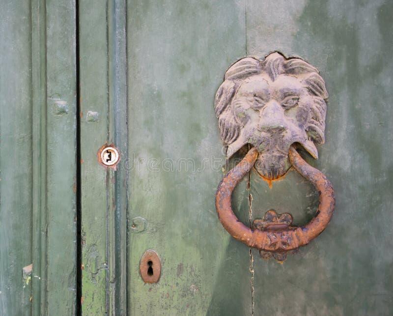 Il knoker della porta del leone su un vecchio wodden la porta fotografie stock