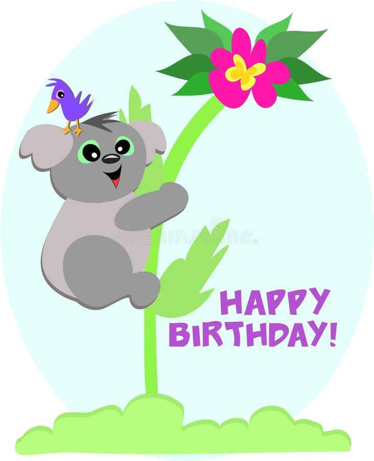il koala felice di compleanno dell'orso dice illustrazione vettoriale