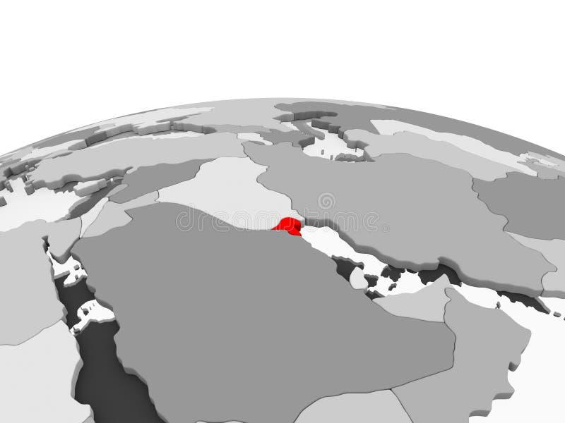 Il Kuwait sul globo grigio royalty illustrazione gratis