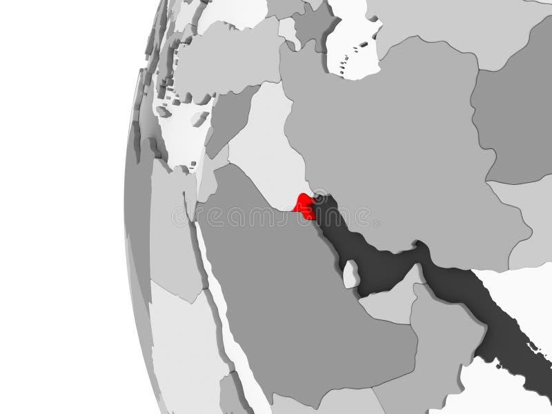 Il Kuwait sul globo grigio illustrazione vettoriale