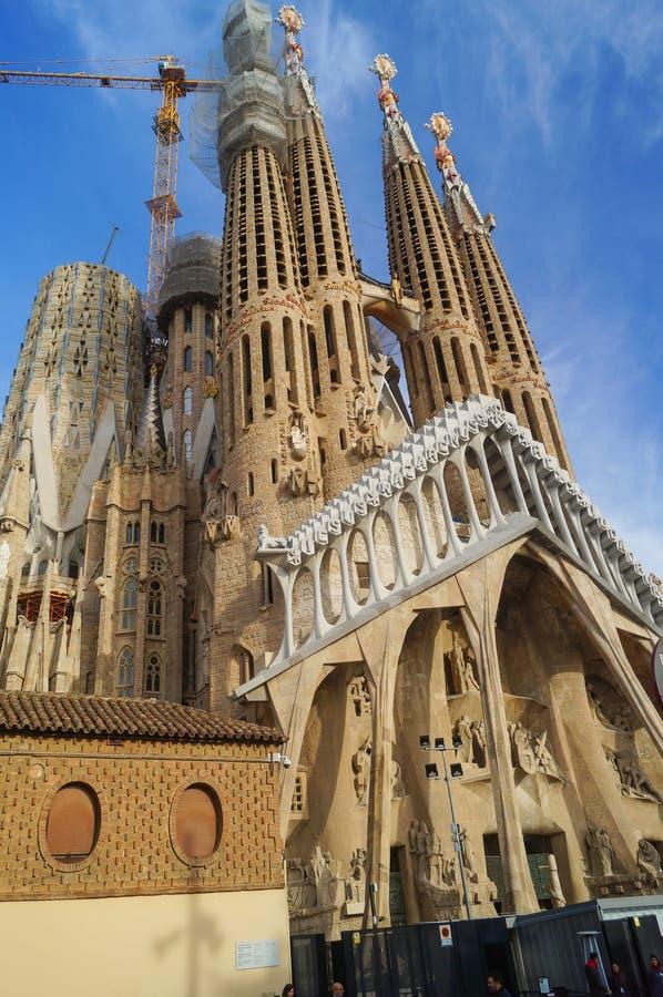 Il ` la s Sagrada Familia o la La Sagrada Familia di Antoni Gaudi di Expiatori de del tempio è stato cominciato nel 1882 immagine stock libera da diritti