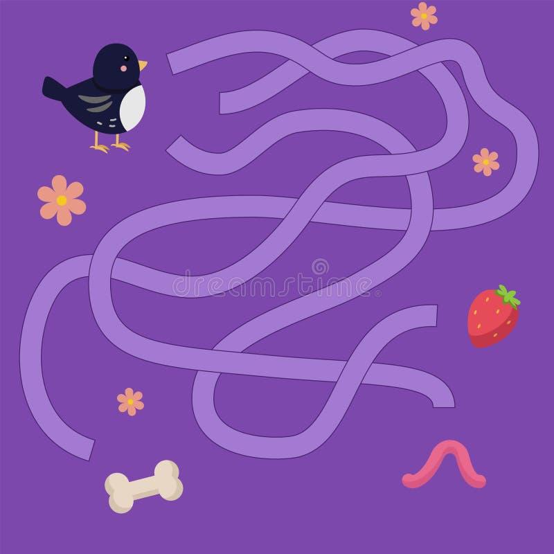 Il labirinto dei bambini con gli animali Illustrazione di vettore dell'innamorato illustrazione vettoriale
