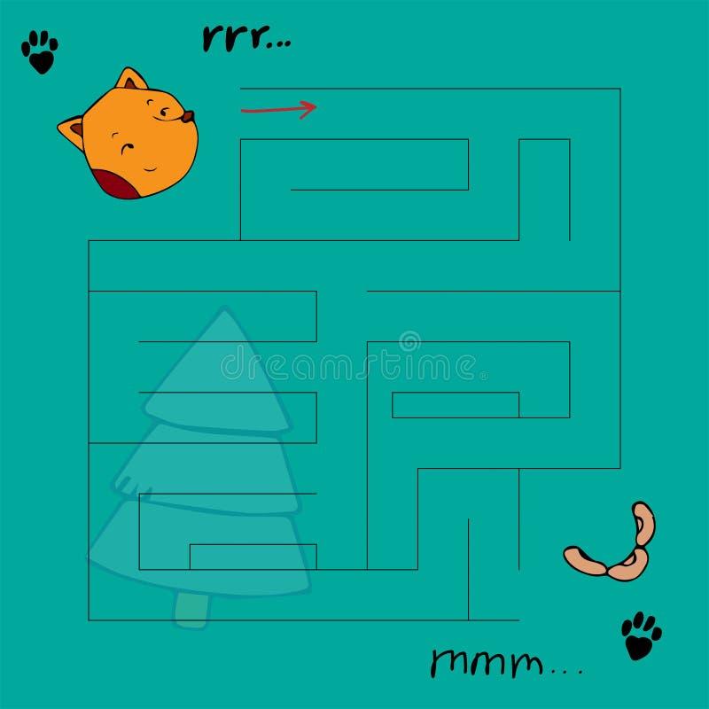 Il labirinto dei bambini con gli animali Illustrazione di vettore dell'innamorato royalty illustrazione gratis