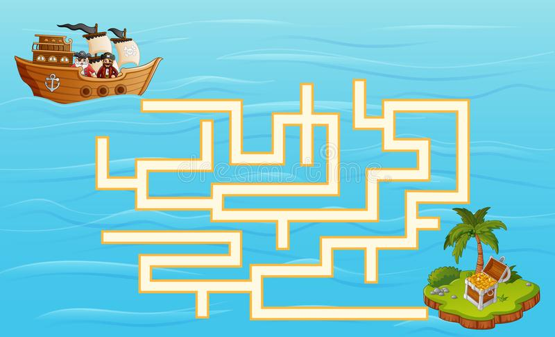 Il labirinto dei pirati del gioco trova il loro modo al tesoro illustrazione vettoriale