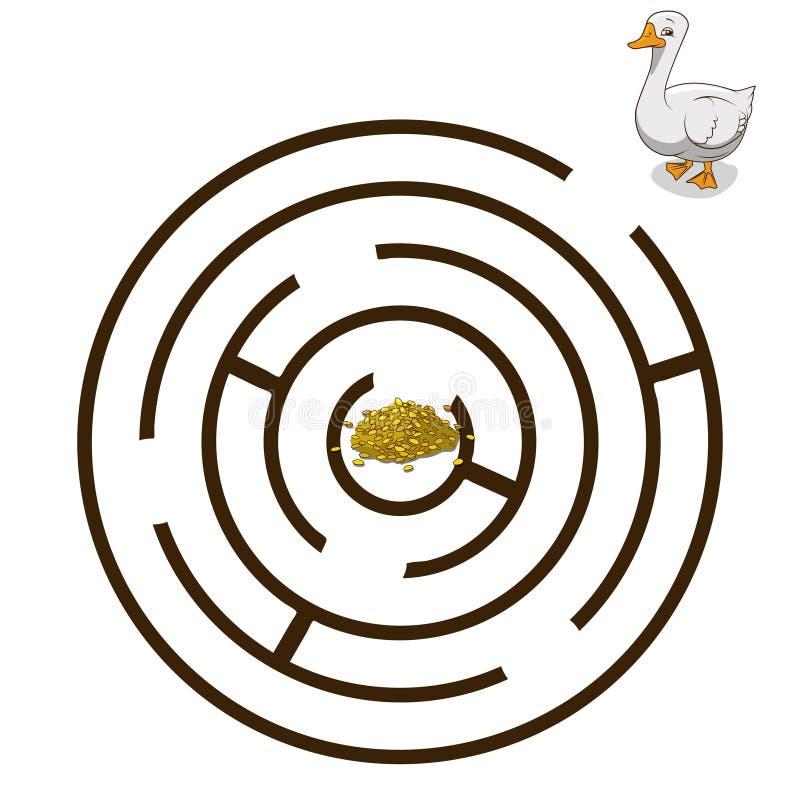 Il labirinto del gioco trova un vettore dell'oca di modo illustrazione di stock