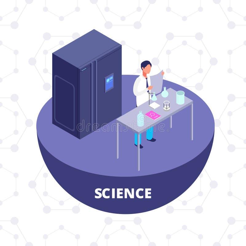 Il laboratorio di ricerca isometrico di scienza 3d con l'attrezzatura di laboratorio e lo scienziato vector l'illustrazione royalty illustrazione gratis