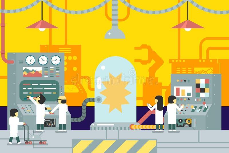 Il laboratorio scientifico sperimenta esperienza illustrazione di stock
