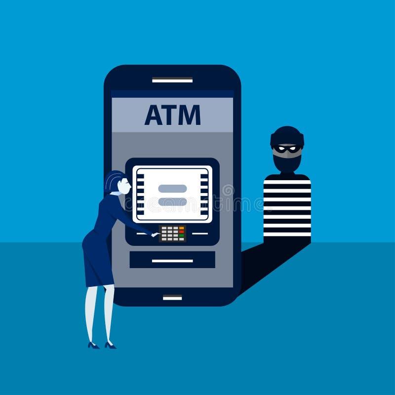 Il ladro incide lo Smart Phone posteriore con il sistema terminale di paga della donna Illustrazione isometrica illustrazione vettoriale