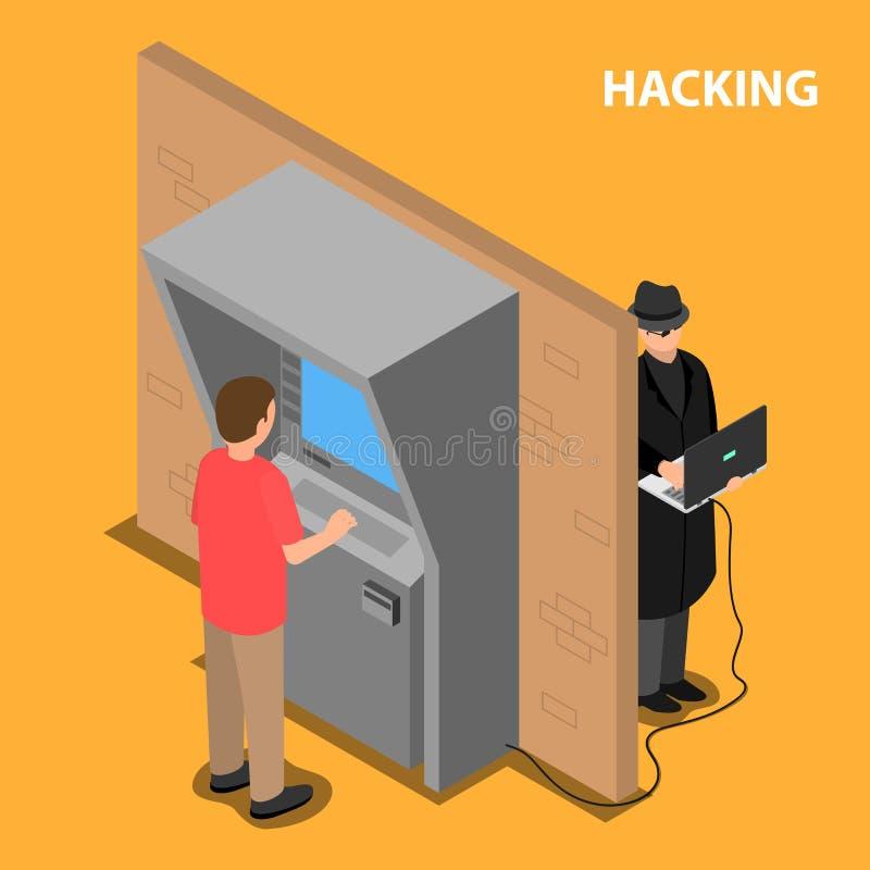 Il ladro incide il software ed il sistema del terminale di pagamento royalty illustrazione gratis