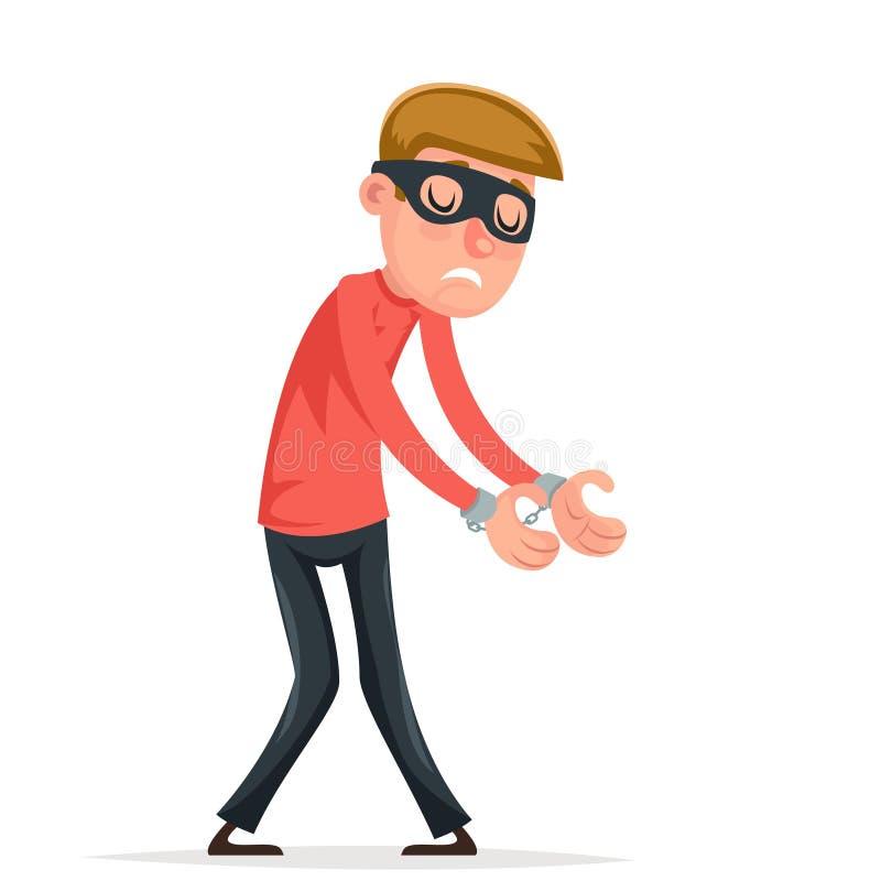 Il ladro preso del ladro dello scassinatore delle manette ha spaventato l'illustrazione di vettore di progettazione del fumetto d illustrazione vettoriale